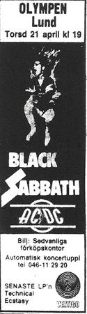 Black Sabbath Lund 77 ad