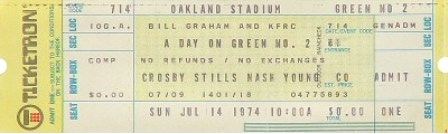 CSNY Oakland 74 ticket