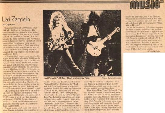 Led Zep Detroit 75 review