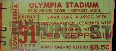 Led Zep Detroit 75 ticket