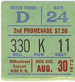Willowbrook Aug 30 72 ticket