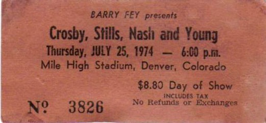 CSNY Denver 74 ticket