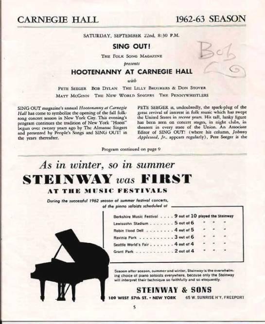 Dylan Carnegie Hall Sept 62 a