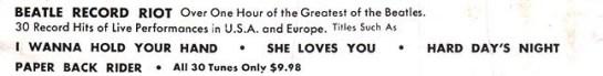Beatles 30 Nostalgia Hits ad
