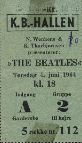 Beatles Copenhagen 64 ticket
