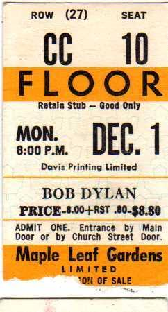 Dylan Toronto 75 ticket