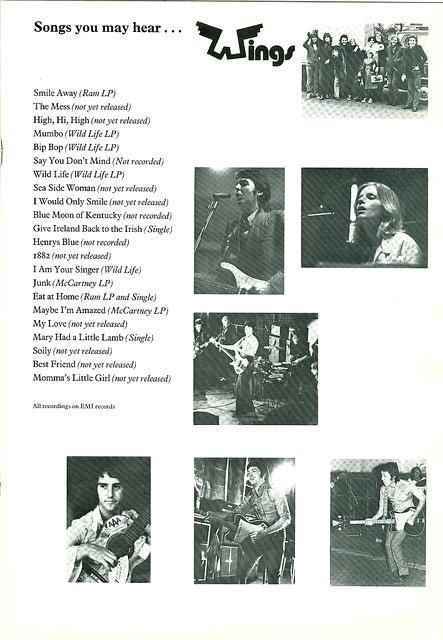 Wings 1972 Tour Program