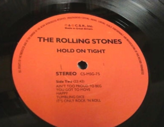Rolling Stones Hold On Tight 3 LP label