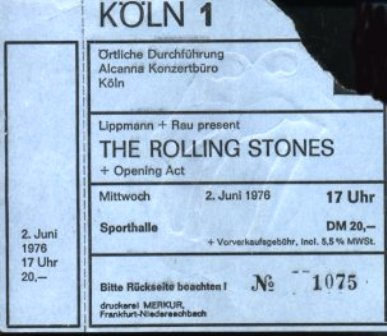 RS Cologne 1st show ticket