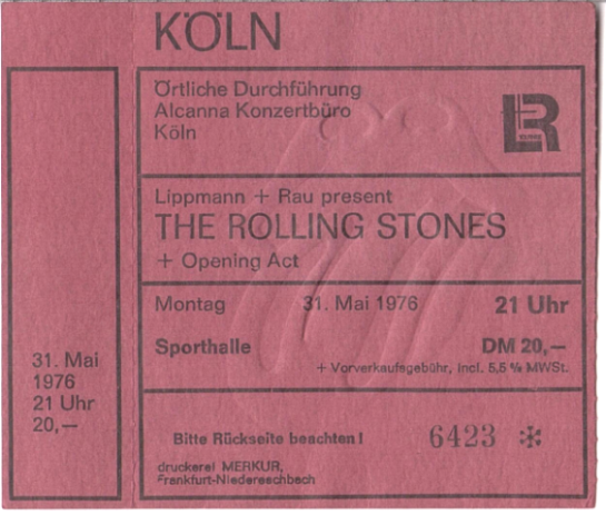 RS Cologne 2nd show ticket
