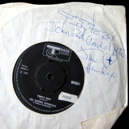 Hendrix signed 45 1970