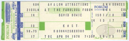 Bowie 78 LA ticket