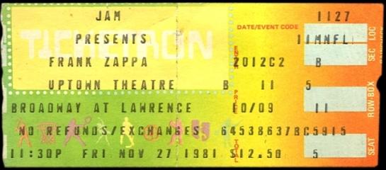 1981-11-27 Frank Zappa Chicago