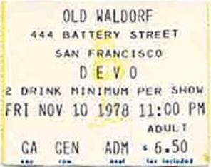 Devo SF ticket 78