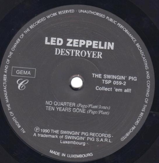 Led Zep Destroyer SwPig lbl
