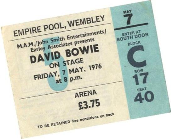 Bowie 76 Wembley tix
