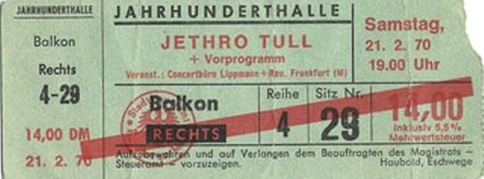 Jethro Tull FRA JHH 70 ticket