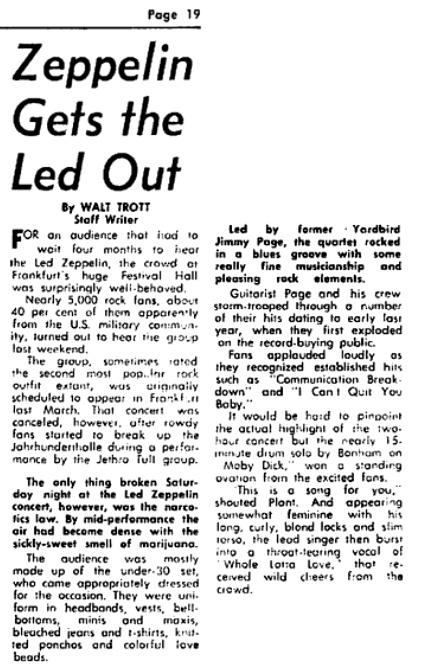 Led Zep FRA July 70 review
