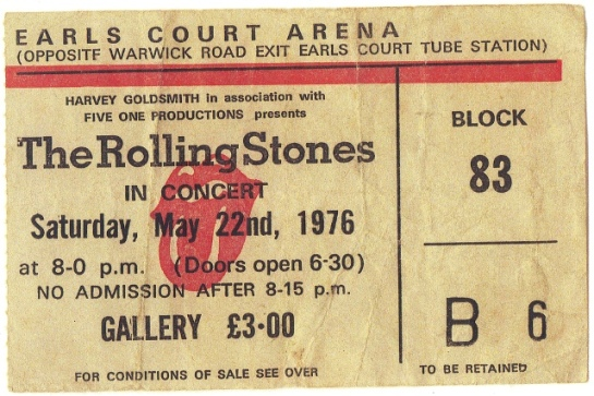 Rolling Stones Earl's Court '76 ticket