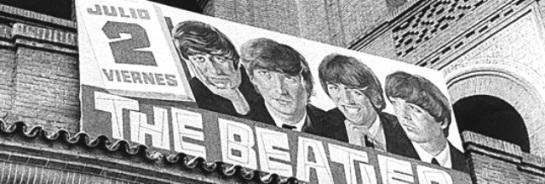 Fotografía de archivo (julio 1965) del cartel anunciador del concierto que ofrecieron The Beatles en la Plaza de Toros de Las Ventas de Madrid, hace 40 años. Vertical.