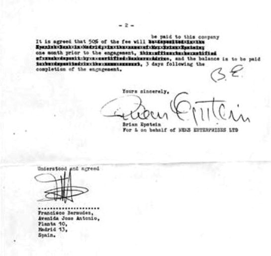 Beatles Spain 65 contract 2