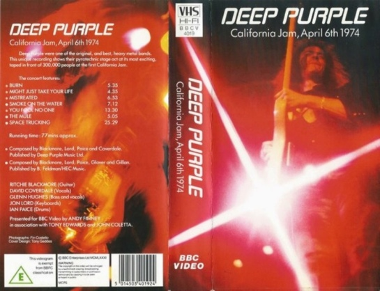Deep Purple Cali Jam VHS