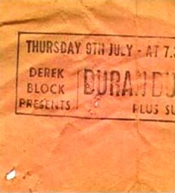 Duran Duran July 9 81 stub
