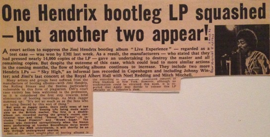 Hendrix One bootleg LP